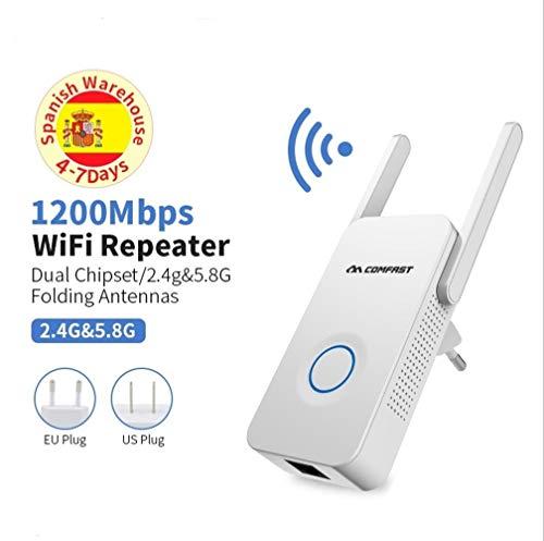 HAIYOUSHANGMAO WiFi Booster Potente Extensor De Banda Dual De 1200Mbps WiFi Amplificador De Señal De Internet Repetidor Inalámbrico 2.4GHz 5GHz Antena De Extensión De Alcance De Wi-Fi