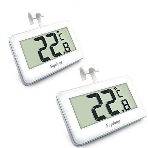 Suplong Kühlschrankthermometer, digital, wasserdicht, Kühlschrank-Thermometer, mit leicht ablesbarem LCD-Display White-2