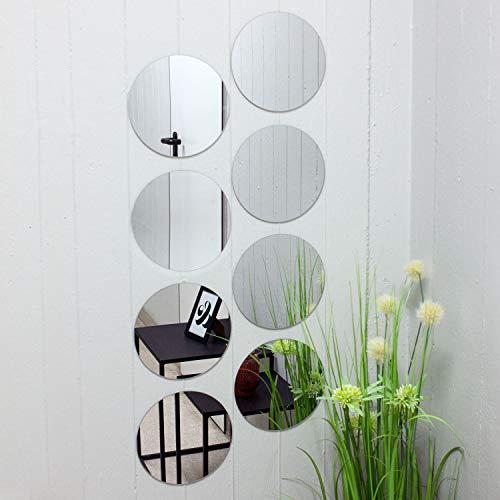 Juego de baldosas de espejo redondo de 8 cada uno Ø20cm azulejo de espejo azulejo espejo espejo...
