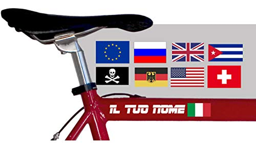 AWS 2 Due Adesivi Nome H 2 cm + 2 Bandiere Italia USA Jolly Roger Germania ECC Tuning Stickers Vinile Bicicletta Moto Bici Casco Custom Name