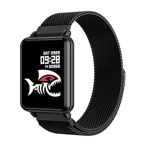 ZOZIZZ Smart Watch, Detector de Ritmo cardíaco de la presión Arterial Toque Fitness Fitness Fitness Mensaje IP68 Impermeable para Android y iPhone Teléfono,B