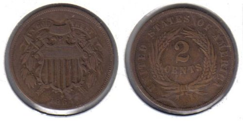 1864 Two Cent Piece Old US Civil War Antique Copper Coin