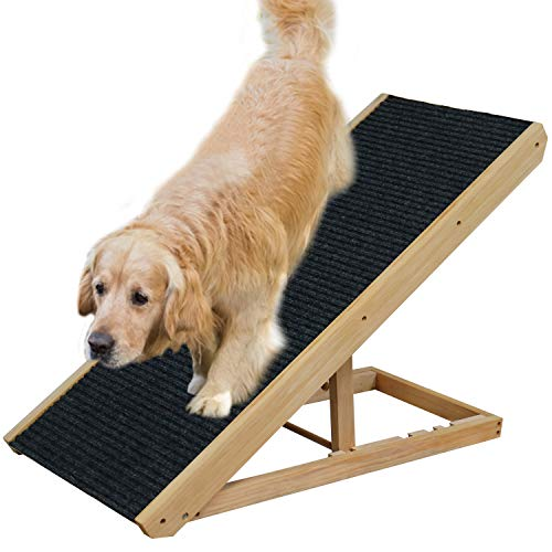 MelkTemn Pet Ramp for Dogs with Non-Slip Surface Carpet, Folding Dog Travel Ramp, 4 Height Adjustable Pet Ramp Durable Puppy Ramp Ladder for Car, Van, Bed, Sofa and SUV, Max Load 220Ib