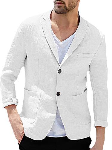 Erneut Herren Anzugjacke Leinen Freizeit Sakko Blazer Slim Fit Sommer Men Casual Jacke, Weiß, XL