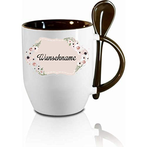Crealuxe Tasse m. Löffel Wunschname Namenstasse Name Floral Löffeltasse, Kaffeetasse m. Motiv,Bürotasse, Bedruckte Tasse mit Sprüchen oder Bildern -