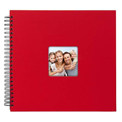 goldbuch Spiralalbum Living Red, Erinnerungsalbum mit Bildausschnitt, Fotoalbum mit 50 schwarzen Seiten, Foto Album zum Einkleben, Fotobuch mit Einband in Leinenoptik, 25 092, Papier, Rot, 32x36 cm