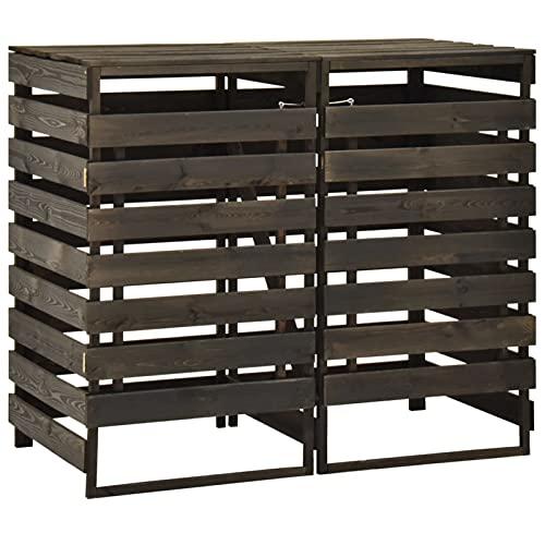 *Festnight Mülltonnenbox Holz für 2 Mülltonnen 240 L Mülltonnenverkleidung 2 Tonnen Müllcontainer Müllbox Gartenbox Abfalltonnenschrank, 140x75x121 cm Kiefer Massivholz*