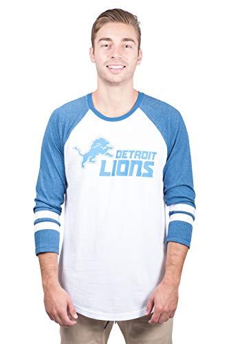 Ultra Game NFL Detroit Lions Mens Raglan Baseball 3/4 Long Sleeve Tee Shirt, White, Medium