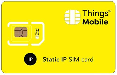 SIM-Karte mit STATISCHE IP-ADRESSE - Things Mobile - mit weltweiter Netzabdeckung und Mehrfachanbieternetz GSM/2G/3G/4G. Ohne Fixkosten und ohne Verfallsdatum. 10 € Guthaben inklusive