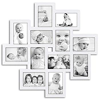 Hello Laura - Photo Frame Union Family Friends White Picture Frame L 24  x H 24  Gallery Collage Wall Hanging Photo Frame for 6  x 4  Photo 12 Photo Sockets White Edge