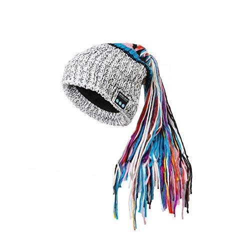 FangsHUAI Bluetooth-hoed, winterbluetooth-hoed dames wollen muts met gekleurde paardenstaart kan muziek beluisteren voor outdoor hardlopen fitness-oefeningen