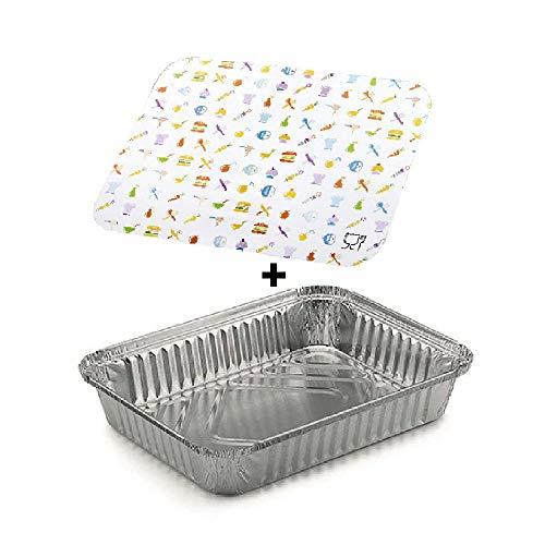 TELEVASO - 100 uds - Envase/Recipiente de Aluminio Rectangular + Tapa de...