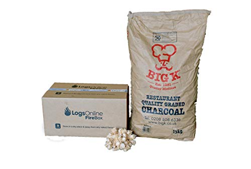 Logs Online BBQ 15kg Restaurant Grade Charcoal Big K Lumpwood Premium Barbecue Low Smoke For Home Use. With Eco Friendly…