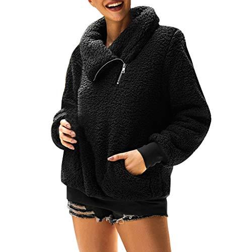 QingJiu Damen Winter Fleece Jacke Rollkragen Reißverschluss Langarm Mantel Tasche Pullover Freizeit Bluse