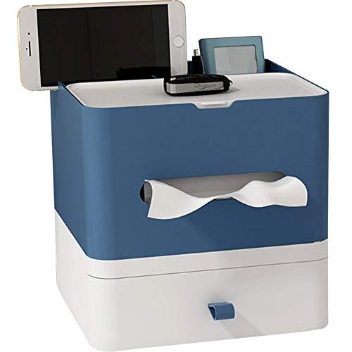 Umoraティッシュボックス 置物 ティッシュケース 多機能 収納ボックス ティッシュ カバー リモコン 小物入れ 大容量 テーブル 引き出し(ブルーA)