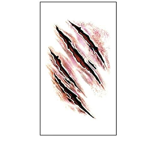 Homeit Herror Scart Tatuaje Temporal para Halloween, Falsos realistas Hidromas de heridas sangrientas Temporal Pegatinas Tatuaje Temporal Impermeable Halloween Disfraz Broma Maquillaje Props
