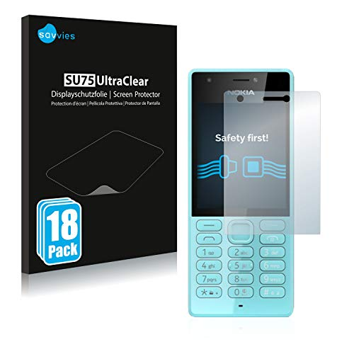 Savvies 18x Schutzfolie kompatibel mit Nokia 216 Bildschirmschutz-Folie Ultra-transparent