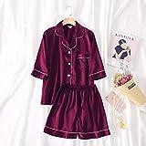 FYMIJJ Conjunto de Pijama,Solid Short Pyjamas Women V Neck Nigh Suit Plus Size Lingerie Femme Silk Pajamas Set 5XL,Red,5XL