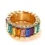 Fugift Anillo de eternidad apilable con cristales de arco iris, anillo de circonita cúbica, anillo de moda para mujer
