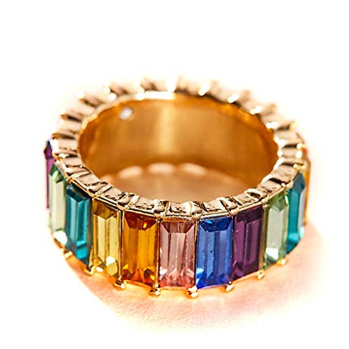 holilest Ring, Rainbow Crystals Baguette Band Ring Stackable Eternity Band Cubic Zirconia Ring
