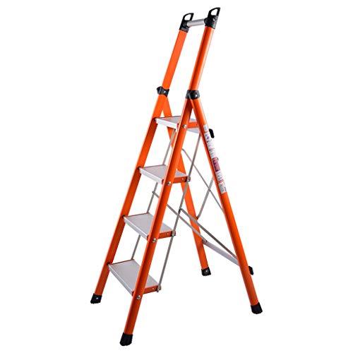 WYKDL Rango de Trabajo escalera con plataforma plegable del hogar taburete de paso ancho pedal robusto Escalera del Mango antideslizante de aislamiento General Perfil Inicio escalera plegable cubierta