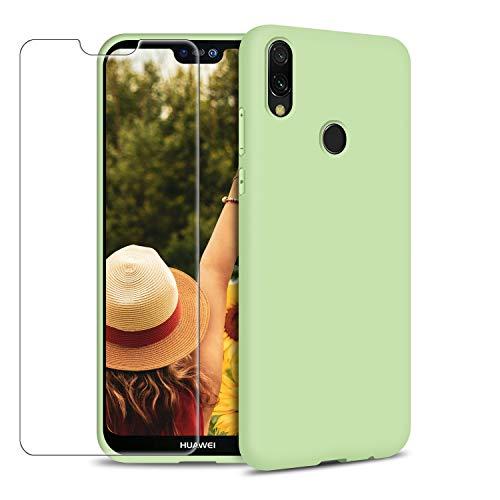 Funda Huawei P20 Lite + Protector de Pantalla de Vidrio Templado, Carcasa Ultra Fino Suave Flexible Silicona Colores del Caramelo Protectora Caso Anti-rasguños Back Case - Menta Verde