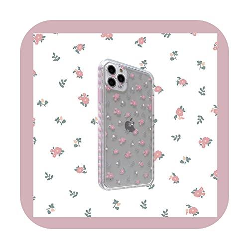 Lindo rosa amor corazón flor coreano teléfono caso para iPhone 12 11 Pro Max X Xs Max Xr 7 8 Puls SE 2020 Carcasas claro suave TPU cubierta A-para iPhone 12