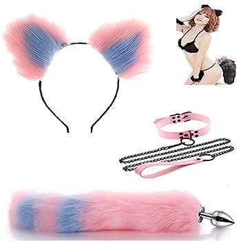 3Pcs Pink Blue Fox Tail Cat Ears Collar Joyful Novel Toy Ań-ãl B-ütt P-lúg for Masquerade Costume