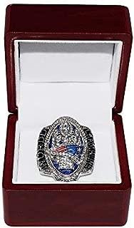 NEW ENGLAND PATRIOTS (Tom Brady) 2016 SUPER BOWL LI WORLD CHAMPIONS (Comeback Vs. Falcons) Rare Collectible High-Quality Replica NFL Football Silver Championship Ring with Cherrywood Display Box