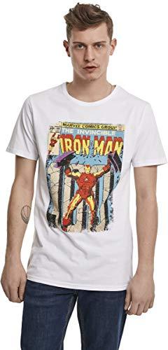 MERCHCODE Iron Man Cover Tee, T-Shirt Men's, White, XS
