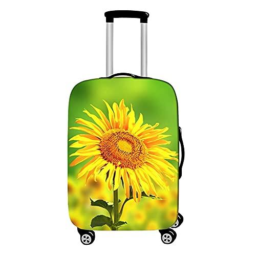Surwin 3D Cubierta de Equipaje Protectora Suave Elástico Anti-Polvo Lavable Funda de Maleta Luggage Cover con Cremallera Viaje Cubierta de la Caja (Flor Amarilla,XL (30-32 Pulgadas))