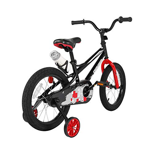Kids Sporty Bike with Training Wheels and Water Bottle 14-16 Inch for Children Age 3-8 (Black and Red, 16 Inch Without Hand Brake)