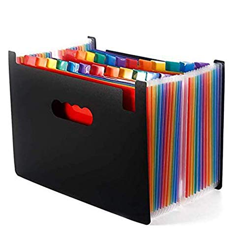 24 Pockets Accordian File Organizer Portable Stand Expandable Business Accordian Folders Plastic A4 Letter Size High Capacity Multicolour Expanding File Folder
