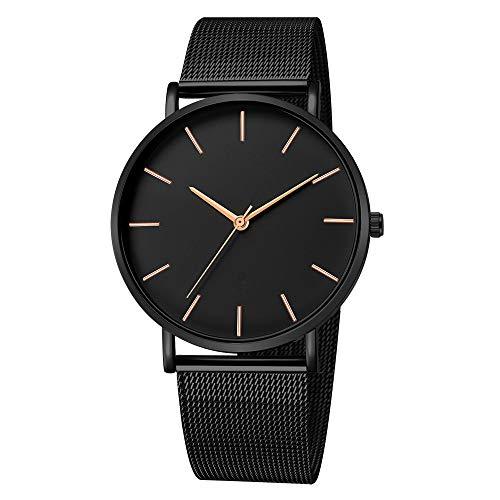 LIBAUO Herren Fashion Stainless Stee Quarzuhr Klassischer Minimalismus Ultradünne Analog Watch(ich,Freie Größe)