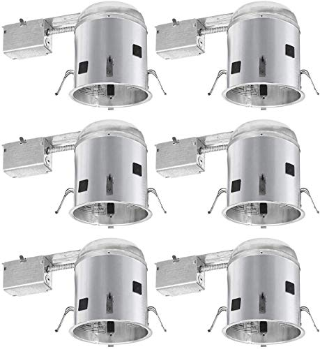 TORCHSTAR 6 Inch UL-Listed Remodel Can, Air Tight IC Housing, E26 Socket Included, for Recessed Housing, 120V Line Voltage, Pack of 6