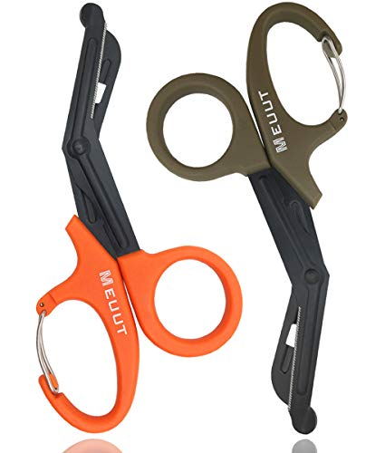 2 Pack Medical Scissors with Carabiner-7.5' Bandage Shears, Premium Quality Fluoride-Coated with Non-Stick Blades Stainless Steel Bandage Scissors (Orange+Quartz Grey)