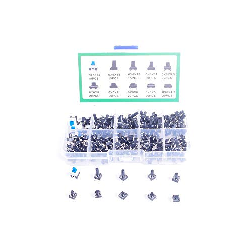 ANGEEK 10 Models 180pcs 6 * 6 Tact Switch Tactile Push Button Switch Kit, Height: 4.3MM~14MM Dip 4P Micro Switch 6x6 Key Switch