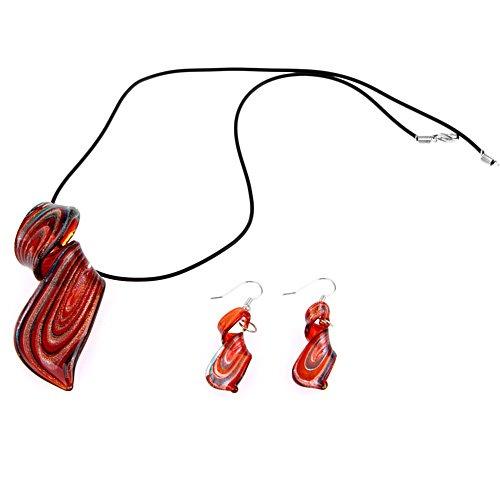 Ecloud Shop Conjunto Collar + Pendientes Cristal de Murano Espiral