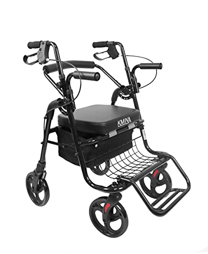 KMINA - Andador Silla de Ruedas (2 en 1), Andador para Ancianos, Andadores con Asiento para Ancianos, Andadores Adultos Aluminio, Andador Ancianos Altura Regulable, Color negro. ✅