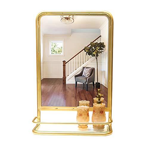 Make-up spiegel ijzer frame met plank smeedijzer rechthoekige gouden rand badkamer wastafel spiegel