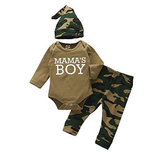 Shiningbaby Neugeborene Jungen Outfits Kleidung Set Baby Tarnkleidung Mama's Boy Langarm Strampler und Hose mit Hut 0-24 Monate