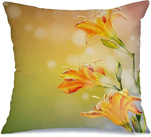 Decoración Throw Pillow Cover Funda de cojín Bloom Yellow Lilies Abstract Invitación Jardín Flores Belleza Primavera Naturaleza Pintura Texturas suaves Funda de Cojine 45 X 45CM