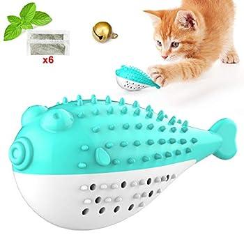 Bolatus Cat Toothbrush, Cat Toy Fish Shape Brosse à dents avec herbe à chat, Silicone Pet Molar Stick Brosse de nettoyage des dents de chat Jouet à mâcher interactif pour chat chaton - Bleu