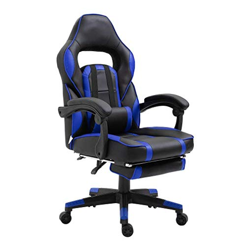 Gaming Stuhl mit Fußstütze, Bürostuhl, Schreibtischstuhl, Ergonomischer Bürostuhl,PU-Leder,Einstellbare Sitzhöhe und Rückenlehnenneigung (Blau&Schwarz)
