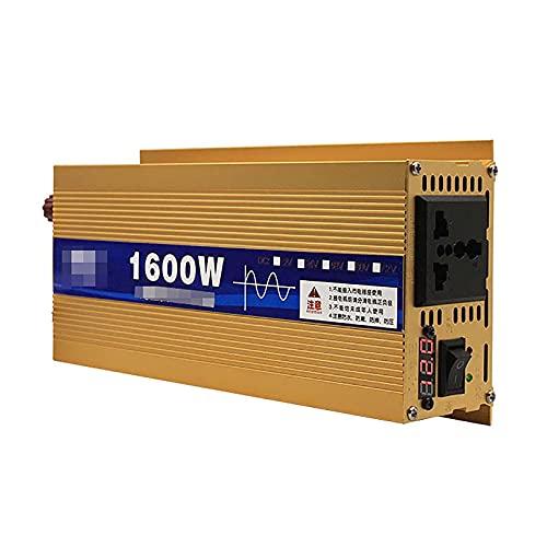 LLSS Inversor de Corriente de 1600W DC 12V ~ 72V a AC 220V Transformador Adaptador de Cargador de Coche con Enchufe de 3 Pines