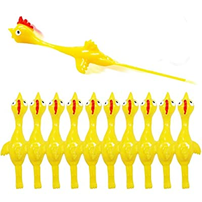 Slingshot Chicken Rubber Chicken Flick Chicken Flying Chicken Flingers Stress Gag Toys, Rubber Chicken Slingshot Funny Christmas Stuffers Easter Chicks Novelty Gifts for Kids Teens (Yellow 10 pcs)