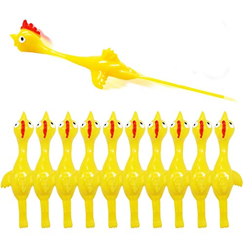 Slingshot Chicken Rubber Chicken Flick Chicken Flying Chicken Flingers Stress Gag Toys, Rubber...
