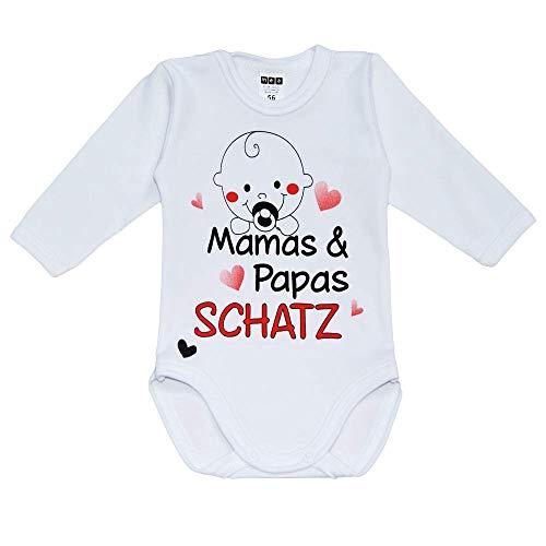 MEA BABY Unisex Baby Langarm Body mit Spruch Mamas & Papas Schatz, 100% Baumwolle, Baby Body weiß für Mädchen, Baby Body Weiss für Jungen. (62)