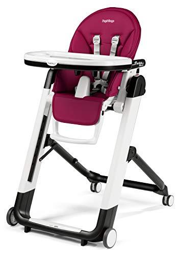 Peg Perego Siesta Follow Me - Berry - Design-Hochstuhl mit Baby-Liegefunktion und Stop&Go-System mit Memory-Funktion, Lederimitat-Bezug, magenta