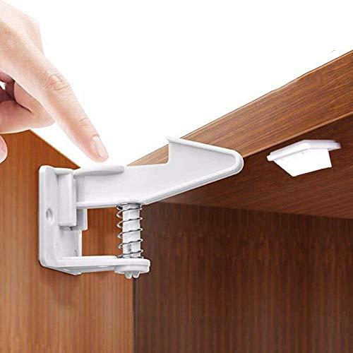 Bloqueo De Seguridad para Niños, Diseño Invisible Cierres de despensa, baño, área de almacenaje, dormitorio,armarios y cajones, sin taladrar (10 cerraduras)